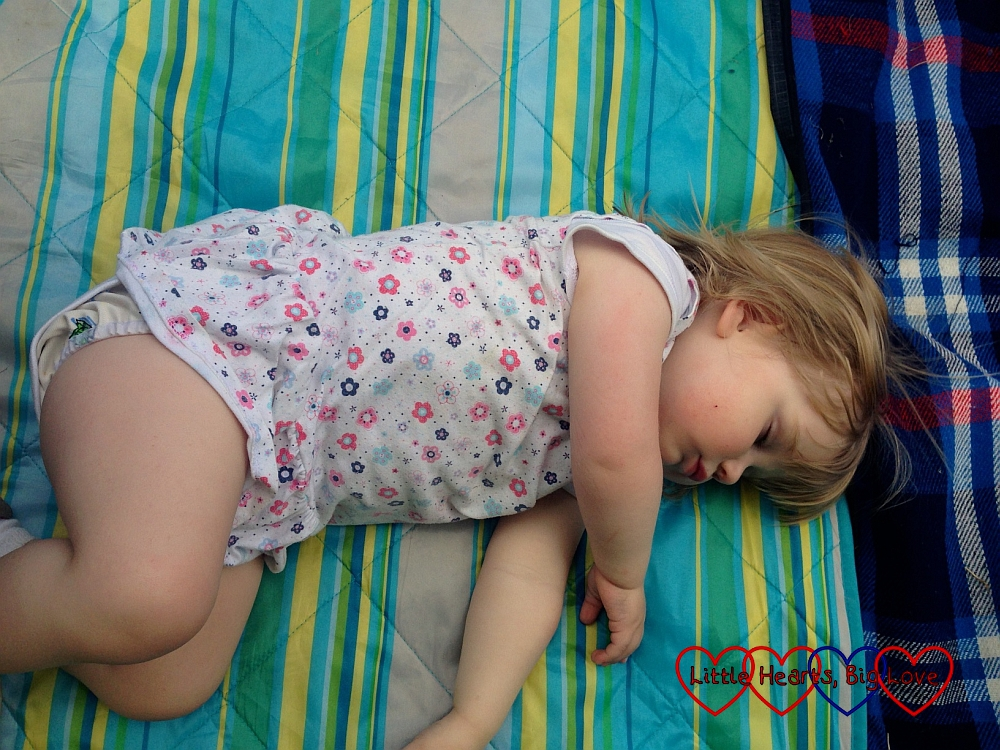 Sophie having a nap in the sunshine - Jessica's first sports day - Little Hearts, Big Love