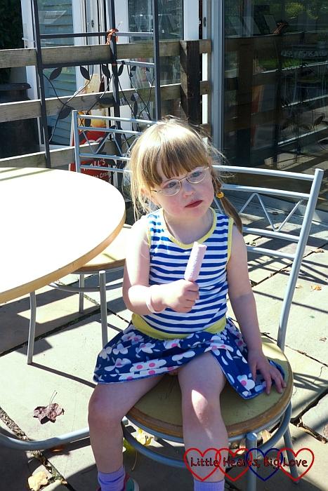 Enjoying an ice lolly at Langleybury Children's Farm - Little Hearts, Big Love