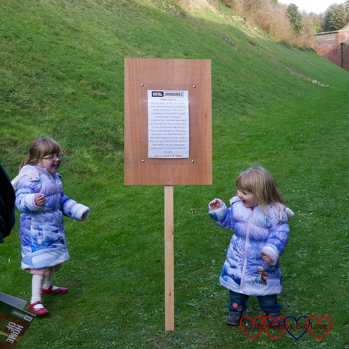Looking for clues whilst walking the fort - Exploring Fort Nelson - Little Hearts, Big Love
