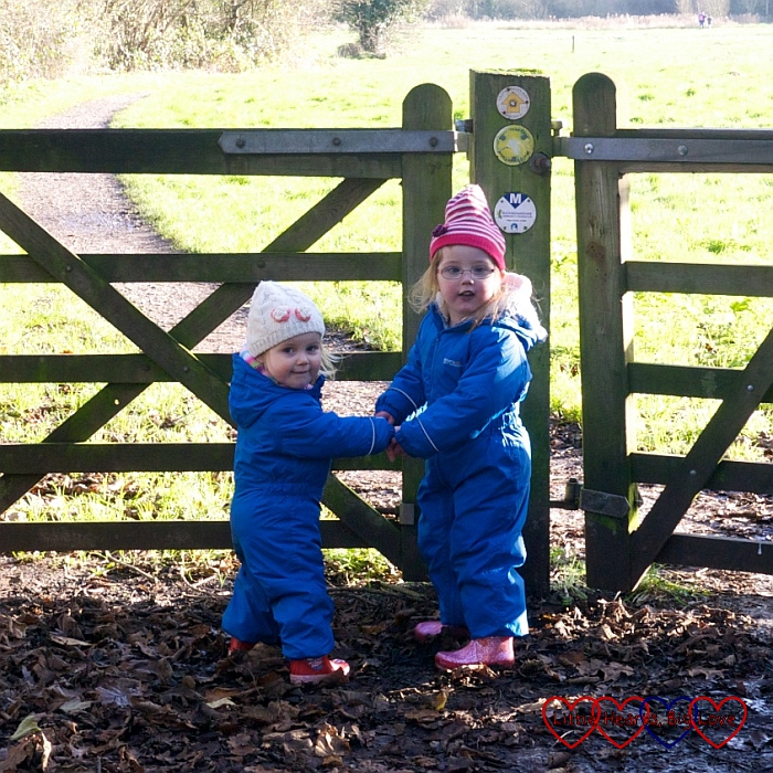 Heading off on our walk - A winter treasure trail at Denham Country Park - Little Hearts, Big Love