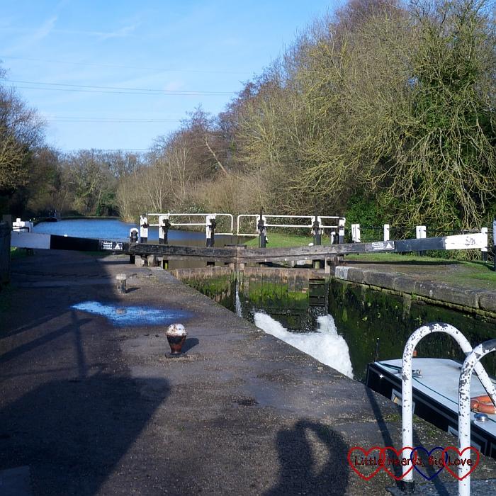 Watching a boat go through Denham deep lock - A winter treasure trail at Denham Country Park - Little Hearts, Big Love