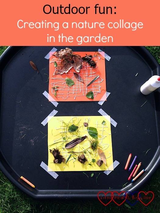 Outdoor fun: creating a nature collage in the garden - Little Hearts, Big Love