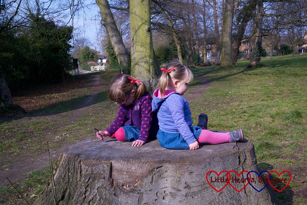 Two sisters sitting on a tree stump - A walk along the canal - Little Hearts, Big Love