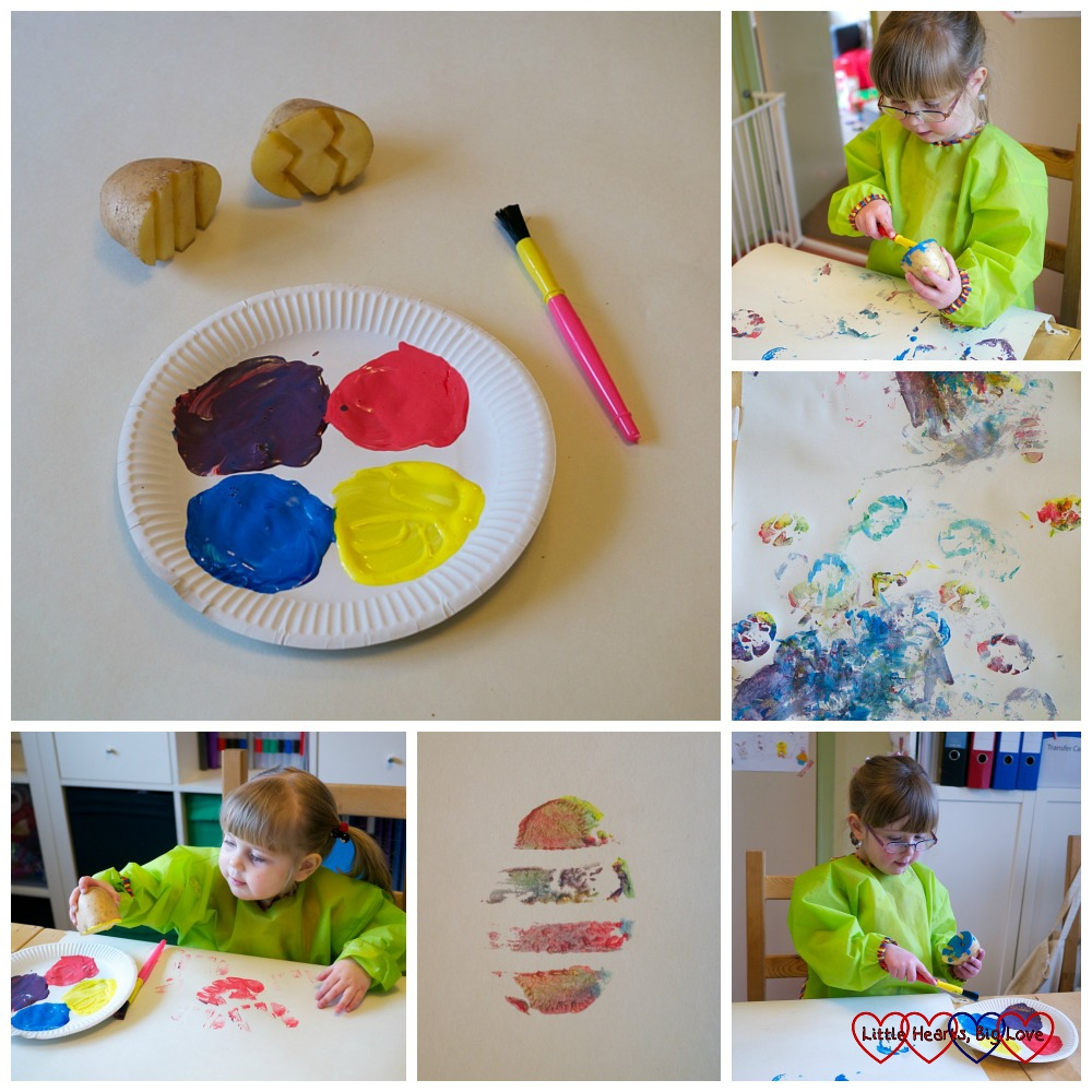 Easter egg potato printing - Easter crafts for toddlers and preschoolers - Little Hearts, Big Love