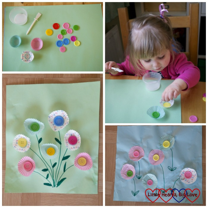 Cupcake case flower pictures - Spring crafts for toddlers and preschoolers - Little Hearts, Big Love