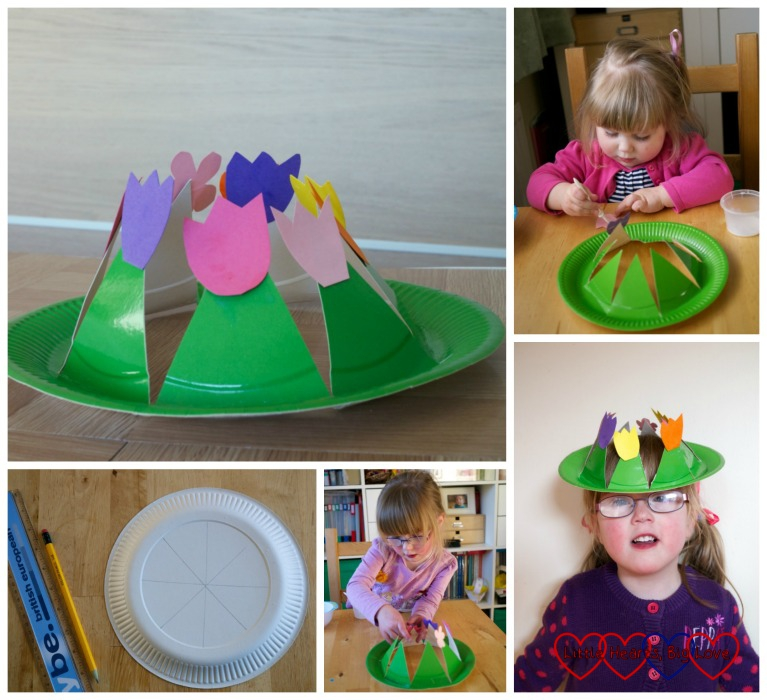 Paper plate spring flower crown - Spring crafts for toddlers and preschoolers - Little Hearts, Big Love