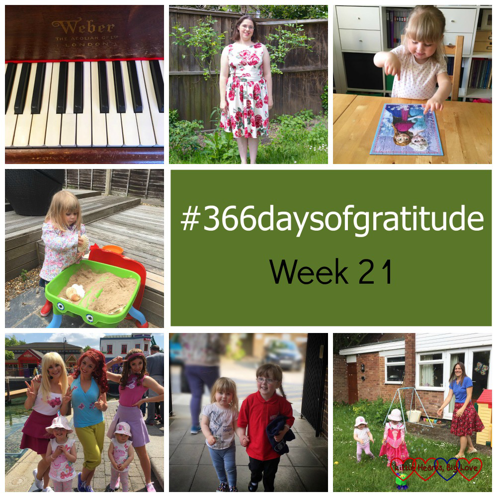 Playing the piano, new dresses, jigsaws, playdates, Lego Friends show, sibling bond and time with friends - the things I've been grateful for this week