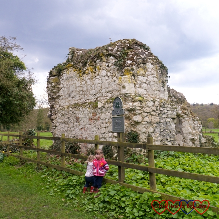 Standing outside the ruins of St Mary's Priory at Ankerwycke