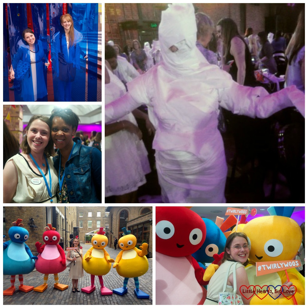 Meeting up with other bloggers and the Twirlywoos and being wrapped in tissue paper as a mummy at last year's Britmums Live