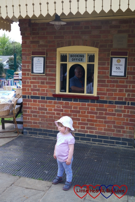 Waiting outside the booking office at Ickenham Miniature Railway