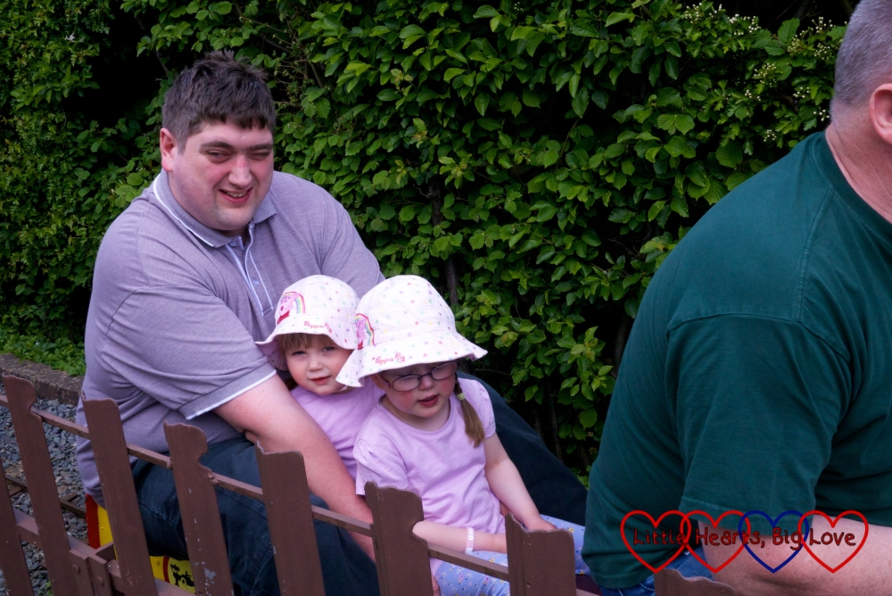 Hubby takes the girls for a ride on Ickenham Miniature Railway