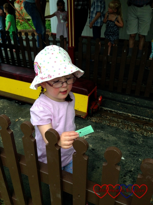 Buying our tickets for a ride on the train at Ickenham Miniature Railway
