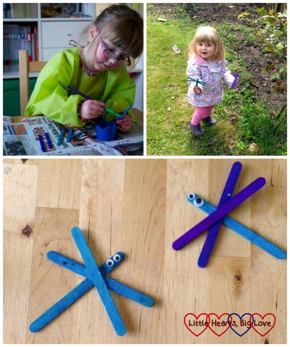 Simple dragonflies made using craft sticks