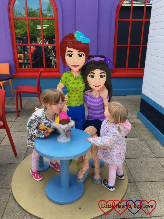 Jessica trying to steal the LEGO Friends' ice cream on a day out at Legoland