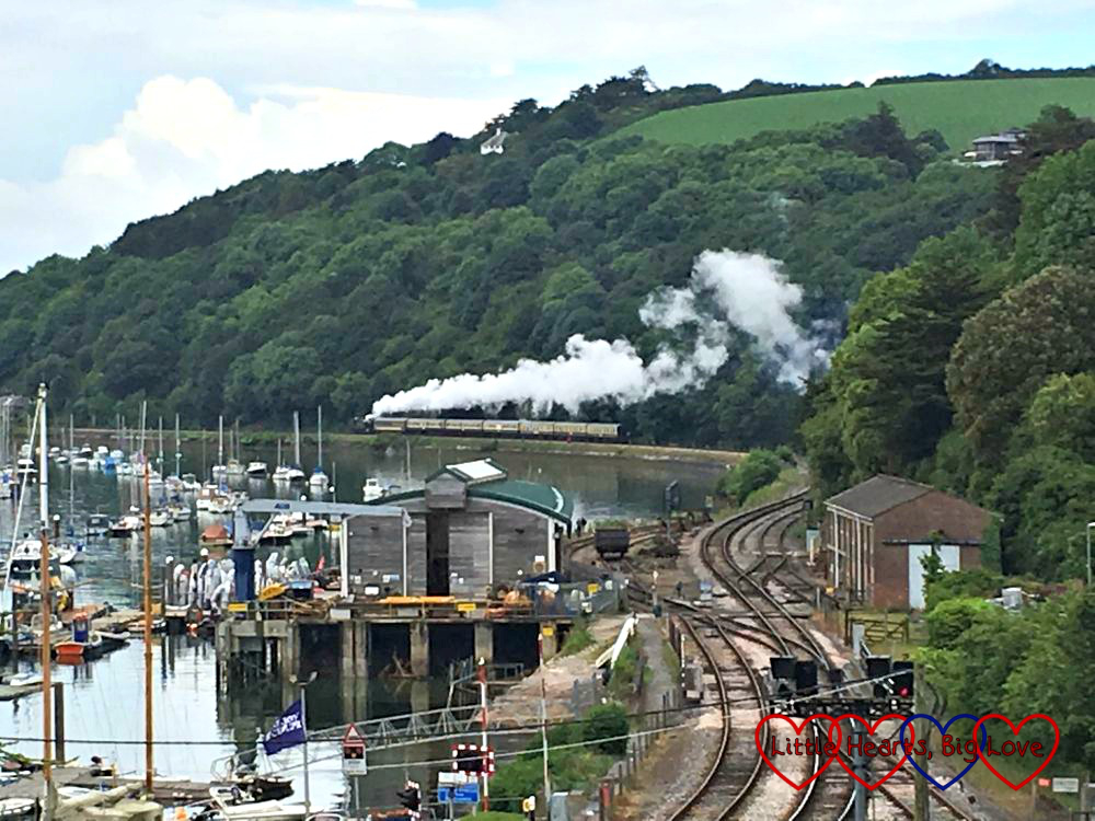 Watching the steam train passing through Kingswear
