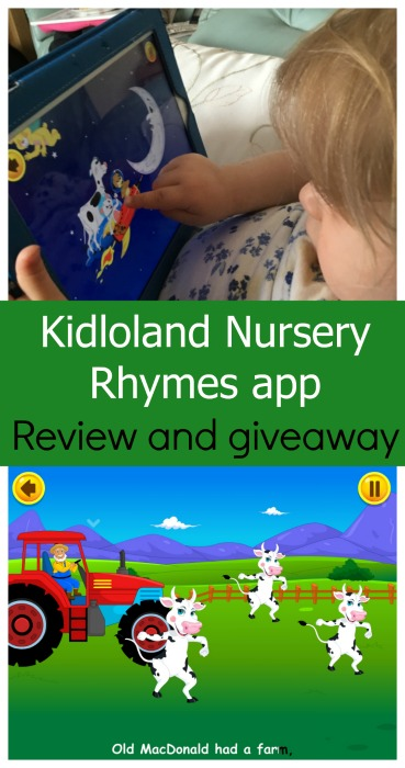 I have 5 x 3month subscriptions for the Kidloland nursery rhymes app to give away to my readers