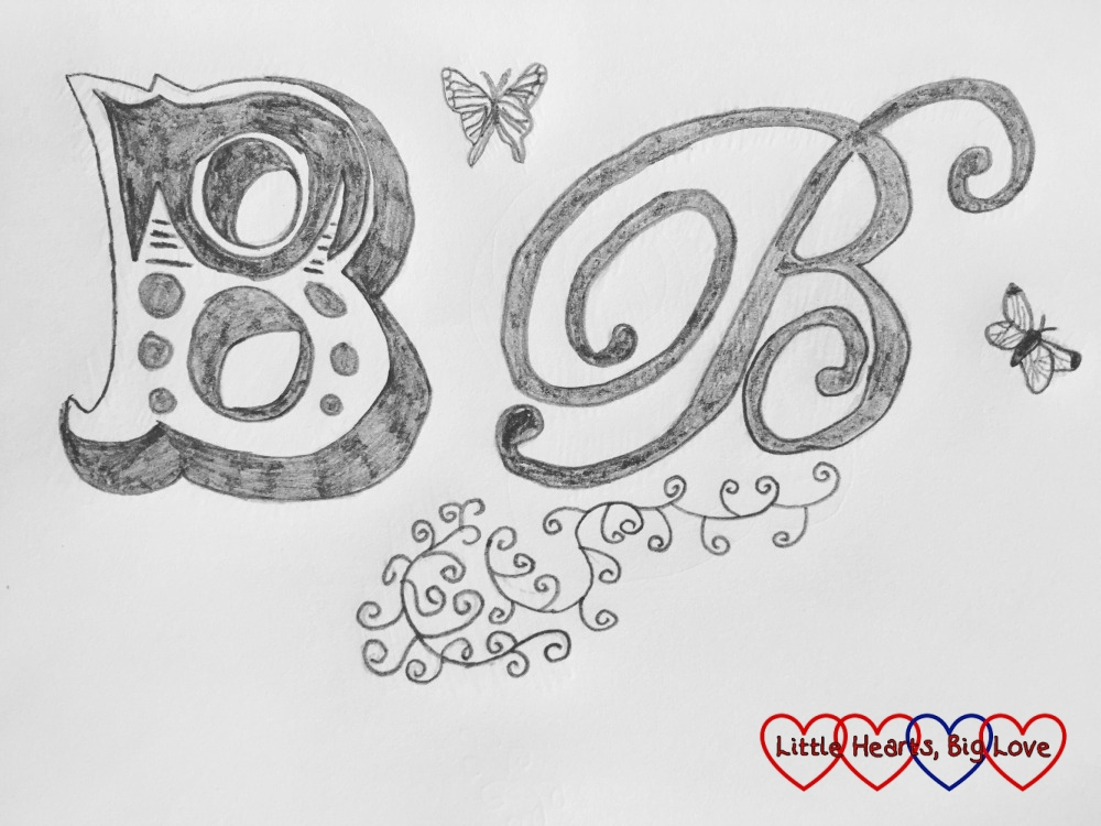 Drawings of the letter 'B' with butterflies and swirls: Rediscovering a love of drawing at Jennie Maizels' Sketchbook Club session