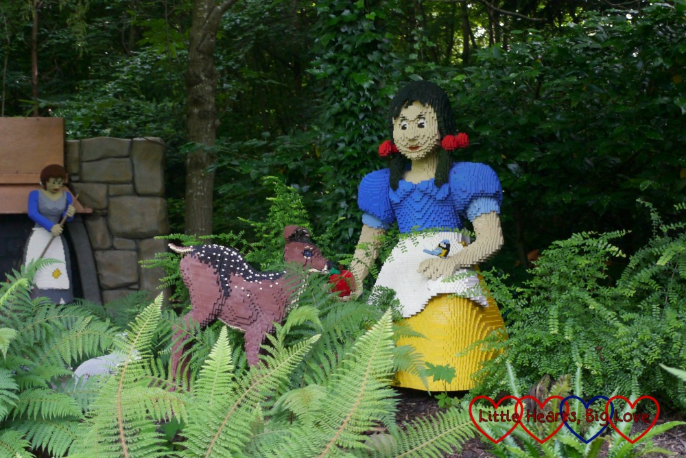 Snow White Lego model on the Fairy Tale Brook ride