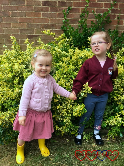 Sophie and Jessica holding hands in front of a bush - Siblings July 2016