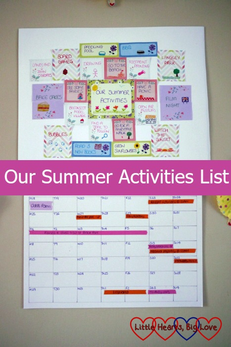 Our board filled with post-it notes listing our summer activities plans plus the calendar showing various events happening - Our Summer Activities List