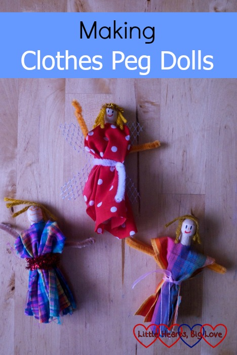 Three dolls made from clothes pegs, pipe cleaners and scraps of wool and fabric