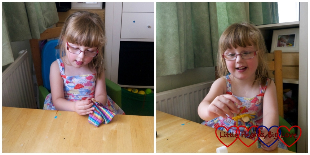 Jessica making clothes peg dolls