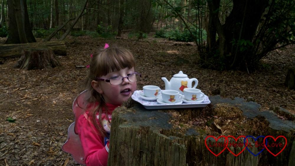 Jessica looking at the fairies' tea set left on a tree stump