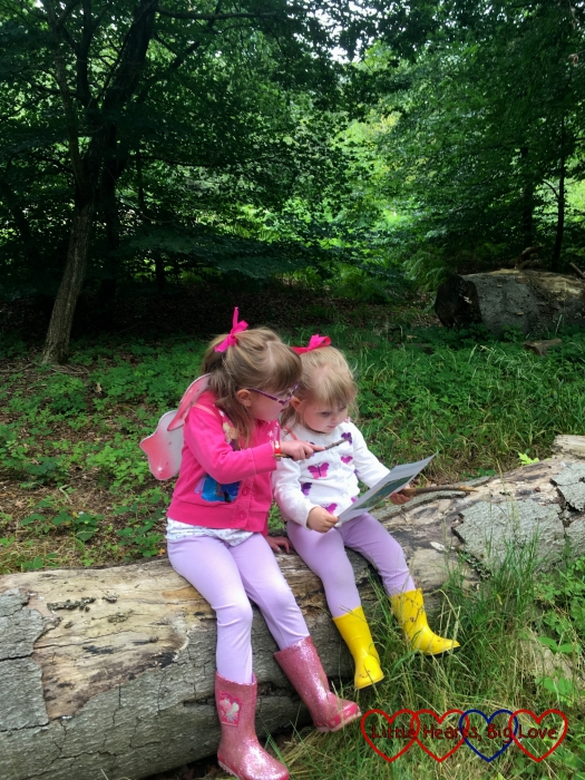 Jessica and Sophie sitting on a tree stump looking at a map together
