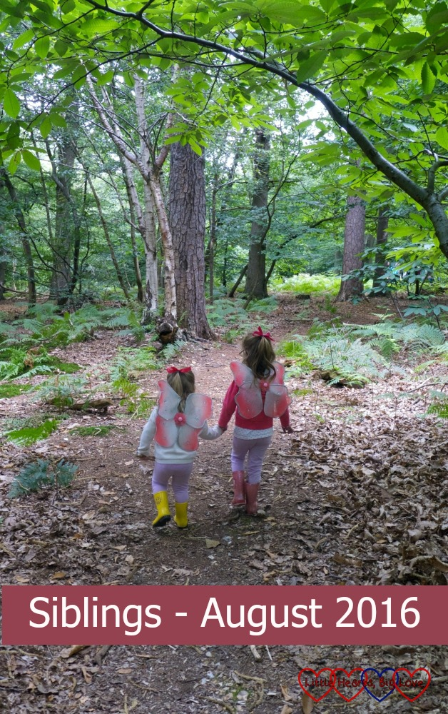 My two little fairies walking hand in hand in the woods