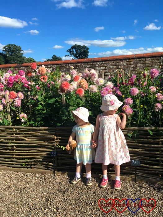 Jessica and Sophie in the walled garden at Baddesley Clinton