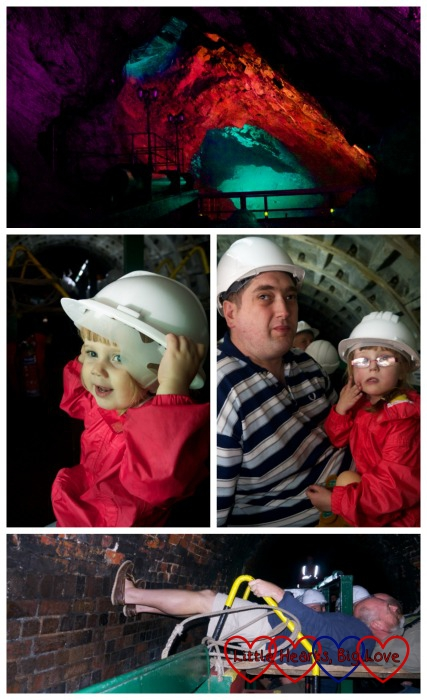 top - one of the caverns in the Dudley tunnel; middle left - Sophie with her hard hat; middle right - Jessica and hubby on the boat; bottom - two men 'legging' the boat through the tunnel