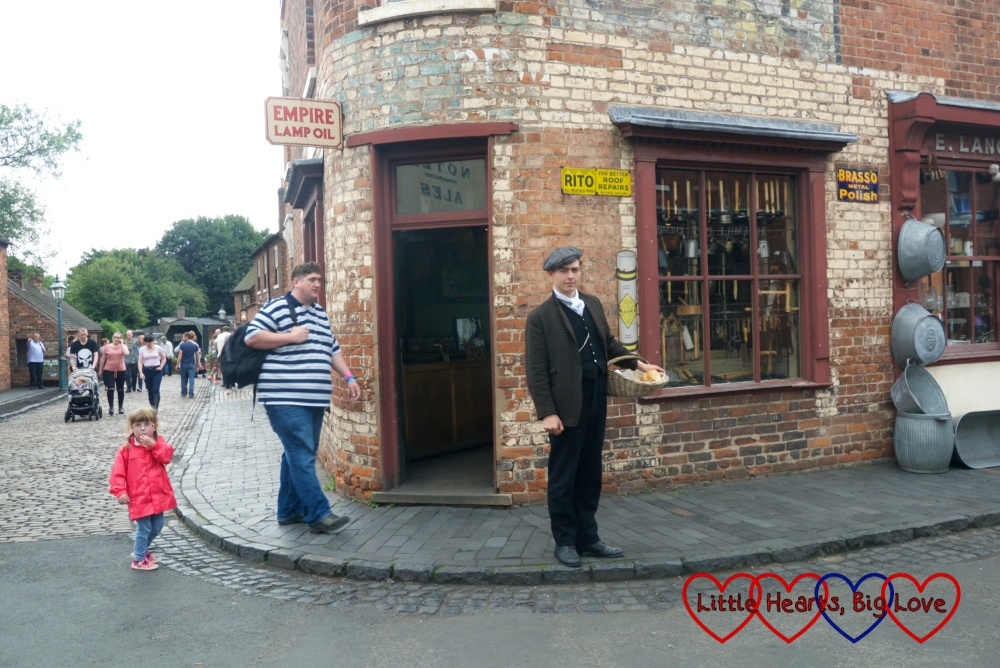 Hubby and Jessica walking through the village at the Black Country Living Museum