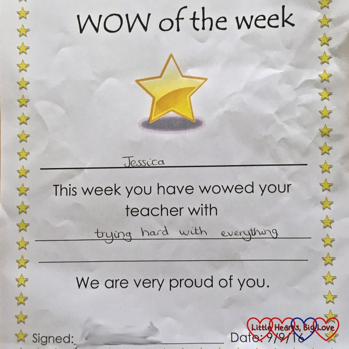 "Jessica's ""WOW of the week"" certificate"