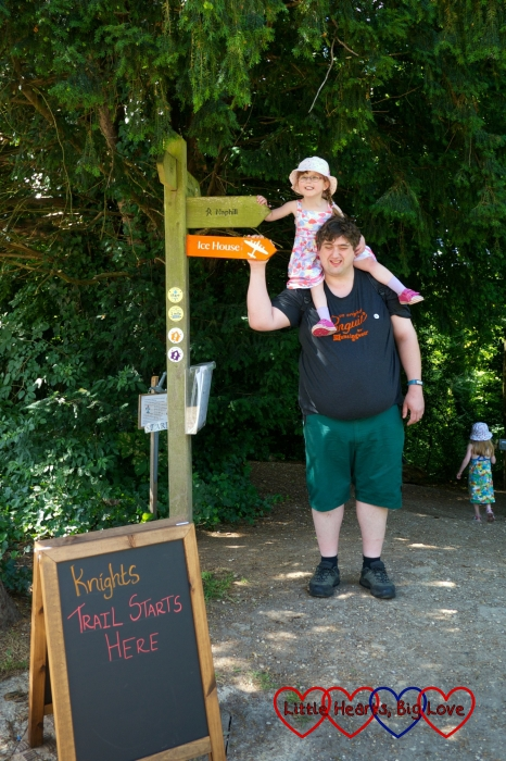 Hubby with Jessica on his shoulders at the start of the knights and dragons trail