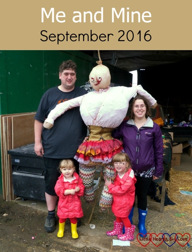 Me, hubby, Jessica and Sophie with the scarecrow we built together - Me and Mine - September 2016