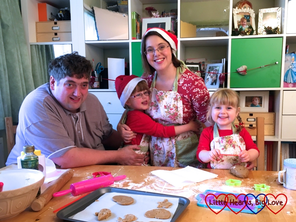 Me, hubby, Jessica and Sophie baking gingerbread hearts as part of a Christmas-themed photoshoot