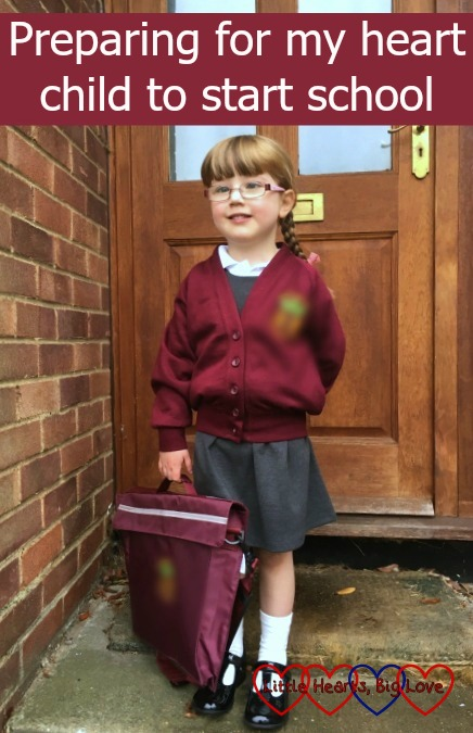 """Jessica on her first day of school with the text """"Preparing for my heart child to start school"""""""