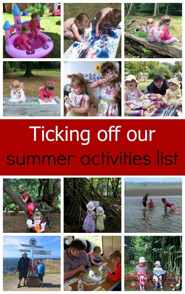 Paddling pool, footprint painting, finding fairies, drawing, baking, picnics, fairy tale adventures, following a trail, day at the beach, LEJOG, board games and Chiltern Open Air Museum - ticking off our summer activities list