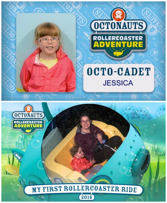 """Jessica's Octo-Cadet badge and her """"my first rollercoaster ride"""" photo"""