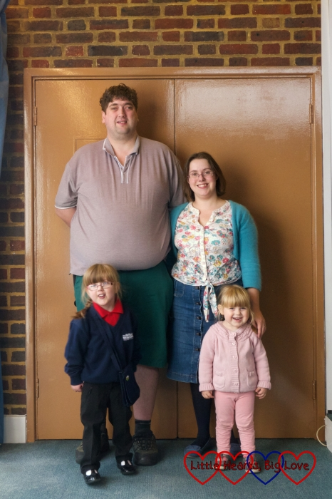 Hubby, me, Jessica and Sophie at church for Jessica's enrolment into Girls' Brigade