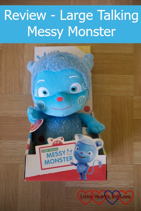 "Large Talking Messy Monster toy in the box with the text ""Review - Large Talking Messy Monster"""