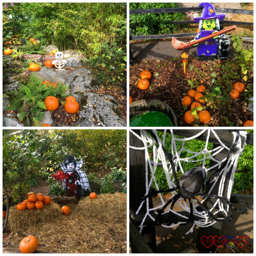 The Enchanted Forest (l-r) Lego skeleton and pumpkins, Lego witch and pumpkins. Lego vampire and pumpkins and a giant spider on a web