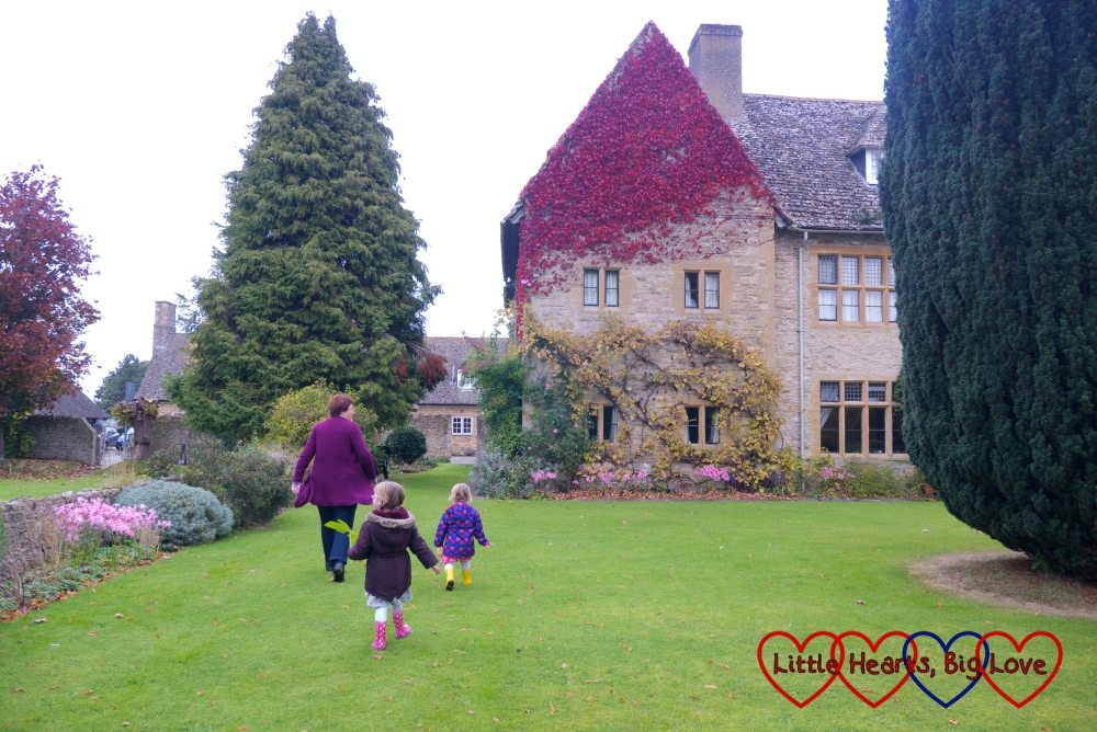 Sophie and Jessica exploring the grounds at Charney Manor with my friend