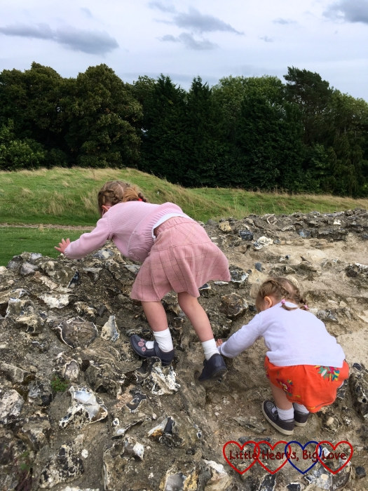 Jessica and Sophie climbing the castle walls