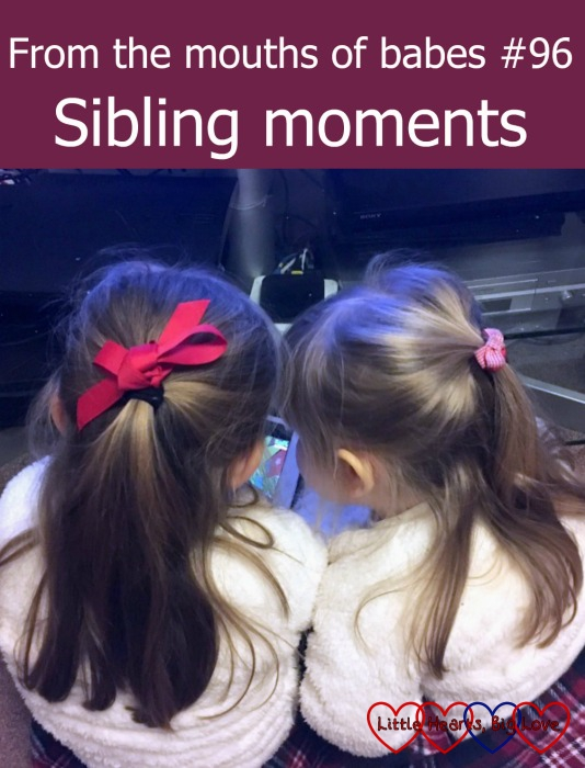 """Jessica and Sophie looking at the iPad together - """"From the mouths of babes #96 - Sibling moments"""""""