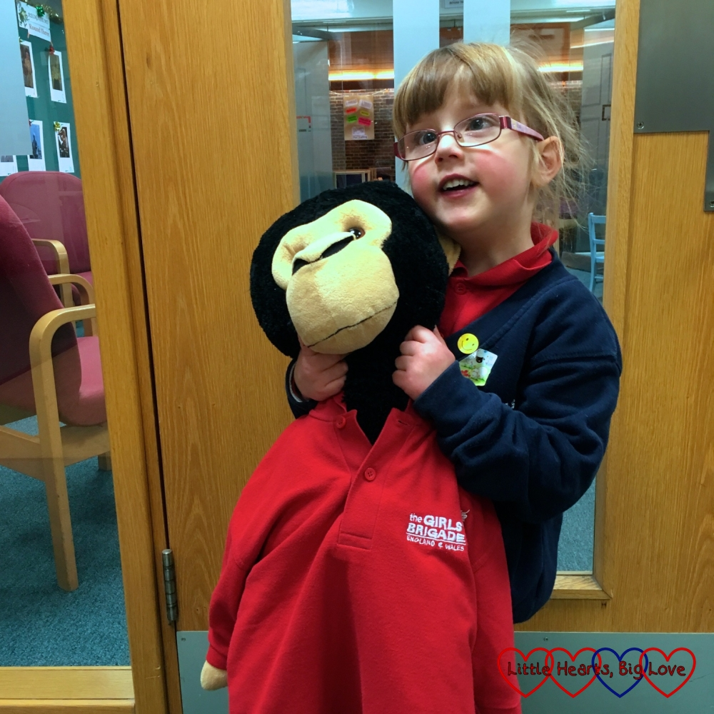 Jessica and Monty the monkey at Girls' Brigade