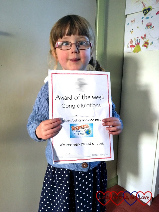 Jessica with her certificate for Award of the Week for always being kind and helpful - My Sunday Photo 13/11/16