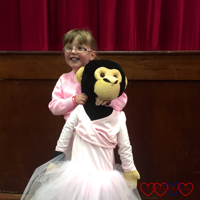 Jessica and Monty the monkey dressed in their ballet outfits