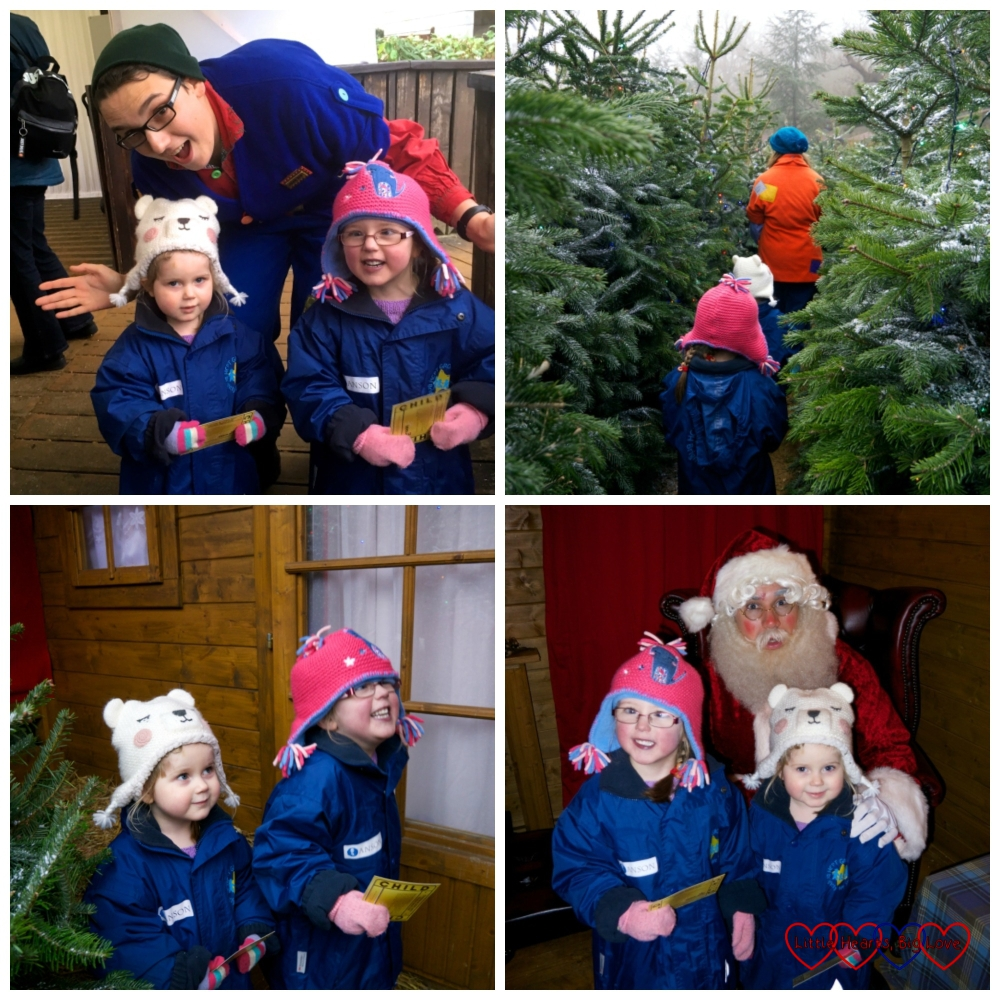 Visiting Father Christmas at Legoland - being greeted by an elf, following another elf through a maze of Christmas trees, waiting excitedly outside Santa's cabin and getting to see Father Christmas himself