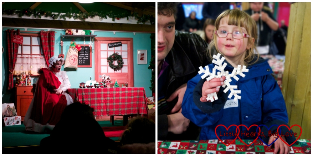 Mrs Christmas in her kitchen and Jessica and Daddy making a Lego snowflake